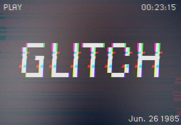 Camcorder glitch text effect mockup