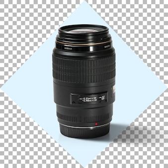 透明な背景の上のカメラの写真レンズ