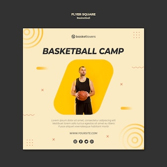 Camp of basketball square flyer template