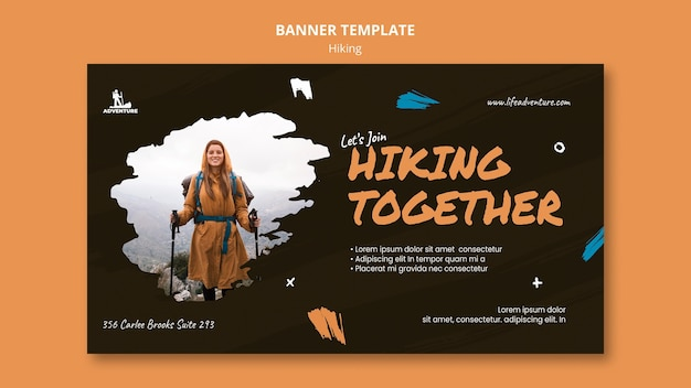 Camping and hiking banner template