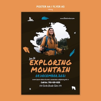 Camping and hiking flyer template