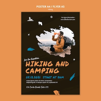 Camping and hiking poster template