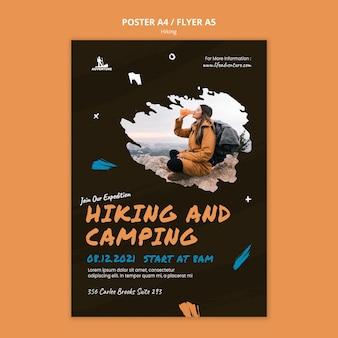 Modello di poster di campeggio ed escursionismo