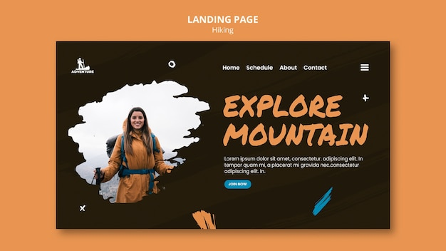Camping and hiking template landing page