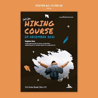 Poster modello campeggio ed escursionismo