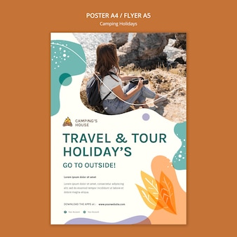 Camping holidays poster template