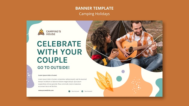 Camping holidays template banner
