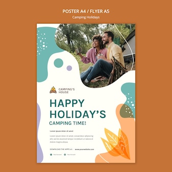 Camping holidays template flyer