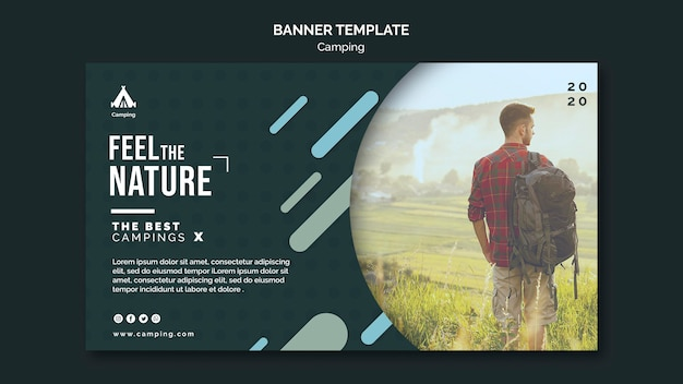 Camping place ad banner template