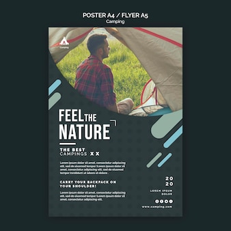 Camping place flyer template