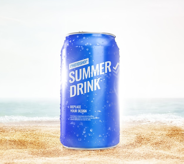 Can on the beach mockup realistic