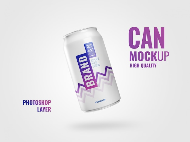 Can flyer mockup realistic 3d rendering