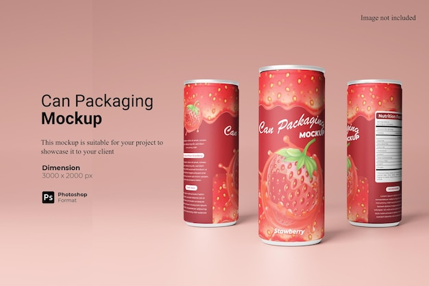 Can packaging mockup design isolated