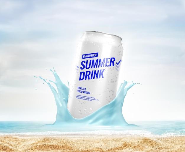 モックアップ夏のビーチをはねかけることができます
