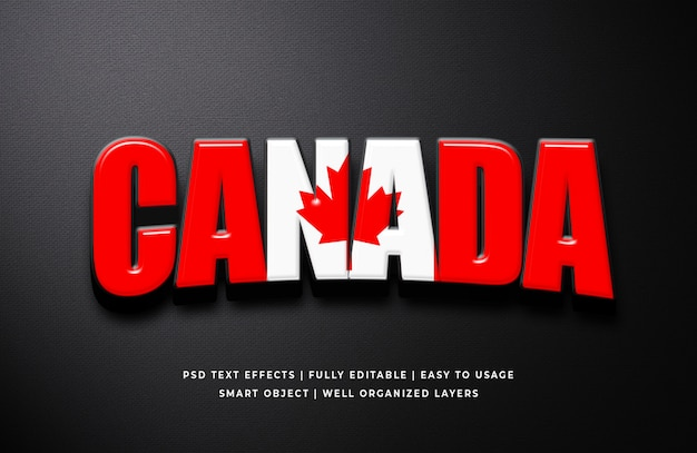 Canada day 3d text style effect