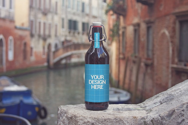 Canal cruise beer bottle mockup