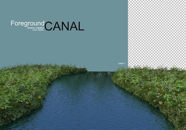 運河の景色とウォーターフロントの植物