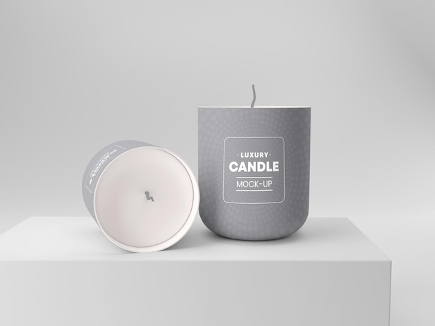 Candle with cover mockup