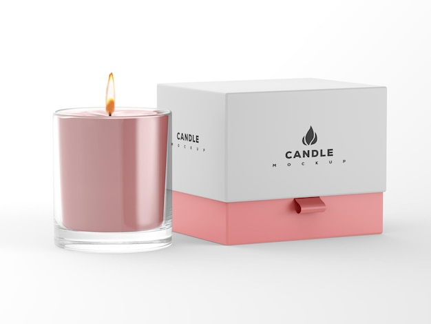 Свеча с макетом бумажной коробки