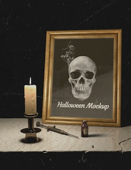 Candles and halloween mock-up frame with skull