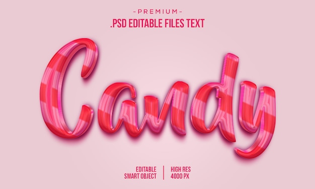 Candy 3d text style effect, hand drawn lettering card, modern brush calligraphy, candy text effect, set elegant pink purple abstract candy text effect