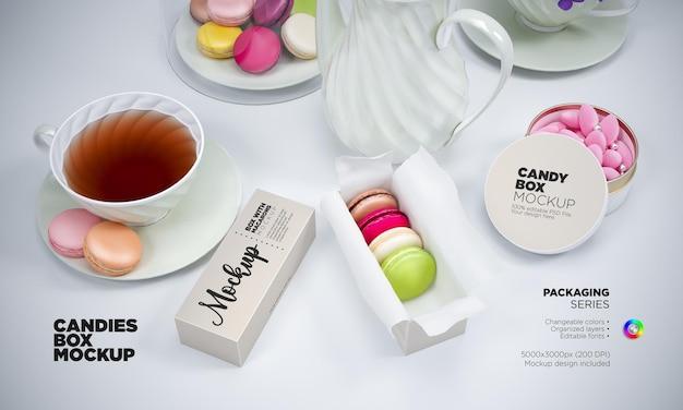 Макет коробки конфет и макарон
