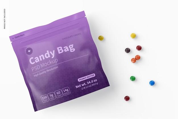 Мокап мешка с конфетами, перспектива