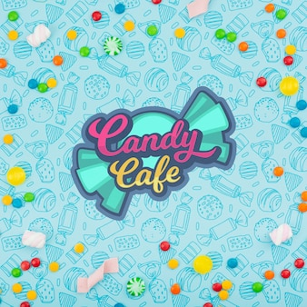 Candy cafe logo surrounded by variety of candies