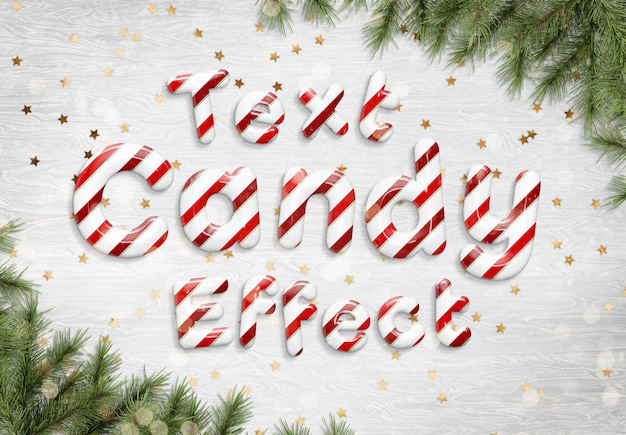 Candy cane text effect mockup