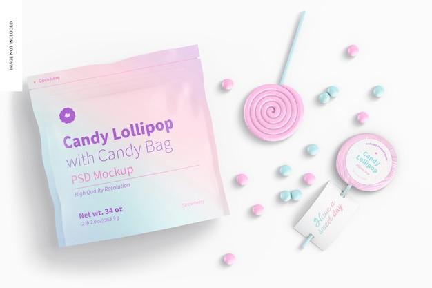 사탕 가방 모형이 있는 사탕 롤리팝