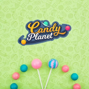Candy planet and assortment of lollipops