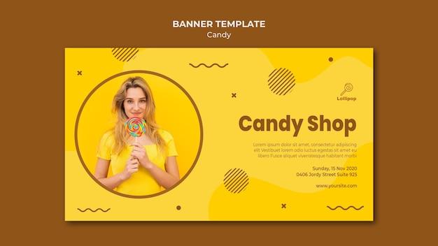 Modello di banner negozio di caramelle