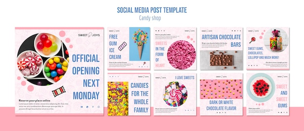 Candy shop instagram posts template
