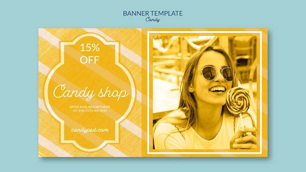 Candy shop and offers banner template