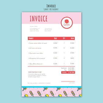 Candy shop template for invoice