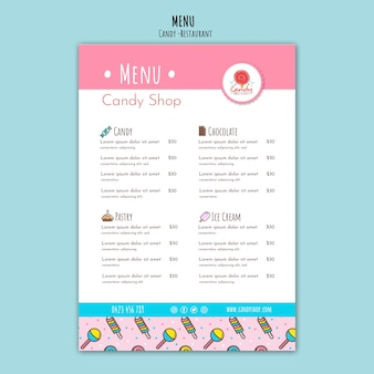 Candy shop template for menu