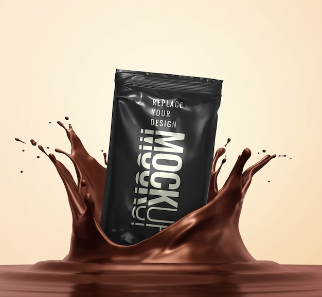 Candy snack bar sachet mockup advertising