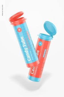Конфеты tubes with flip cap mockup, floating