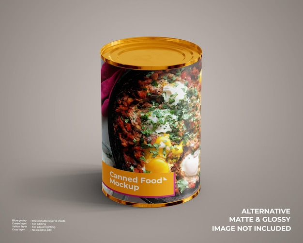 Canned food mockup looks top front view