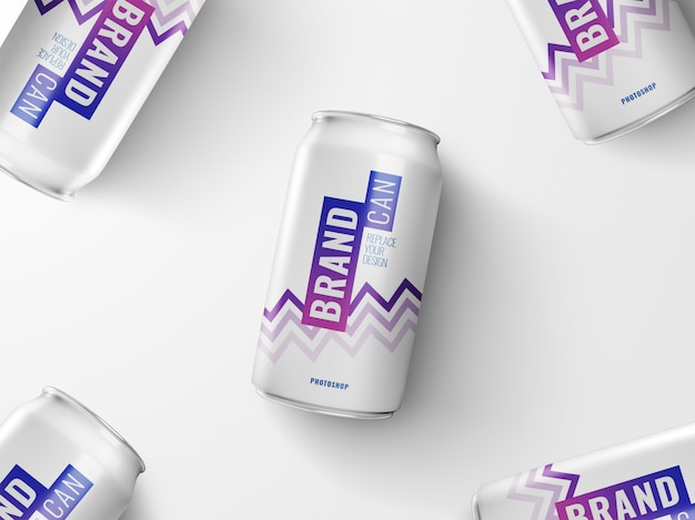 Cans advertising mockup realistic 3d rendering