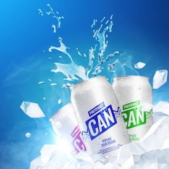 Cans cool artwork mockup realistic