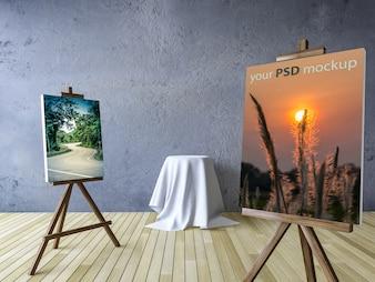 Canvas and studio art mockup