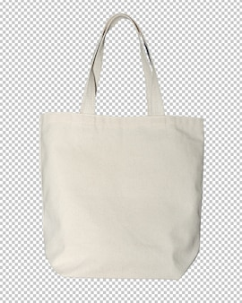 Canvas bag on isolated transparency background