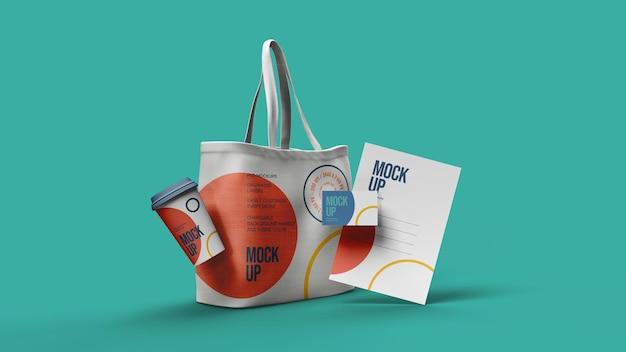 Холщовый мешок бумажный стаканчик letterhad buciness card mockup design изолированные