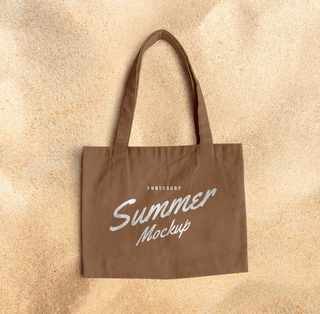 Canvas bag on sand mockup