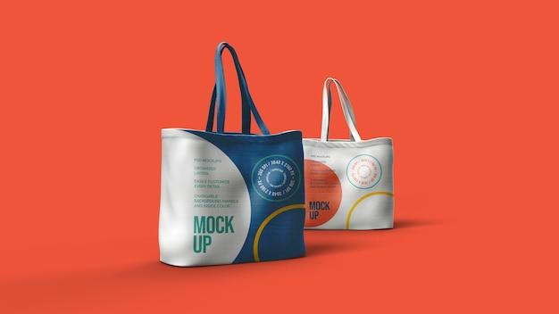 Дизайн макета холщовых сумок изолирован