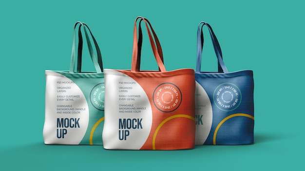 Canvas bags mockup design isolated