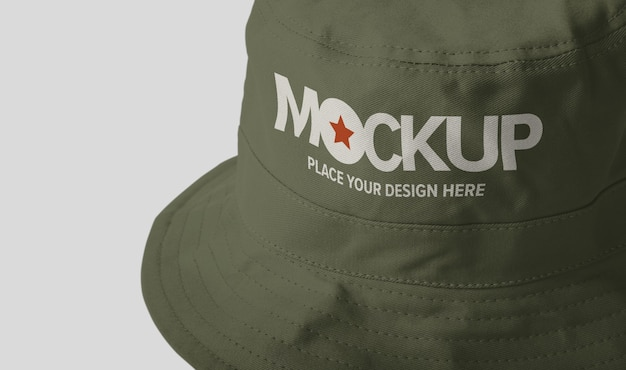 Canvas bucket hat mockup isolated