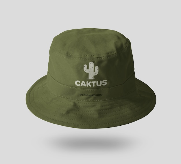 Canvas bucket hat mockup template
