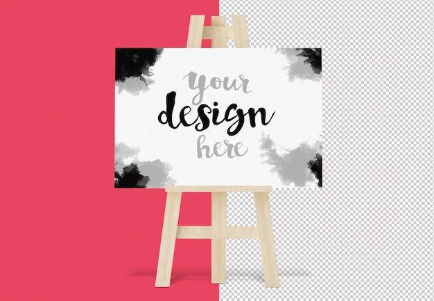 Canvas on easel isolated mockup